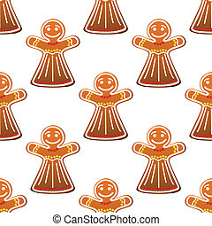 Gingerbread cookie people seamless pattern for holiday...