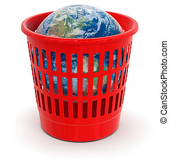 garbage basket with Globe Image with clipping path
