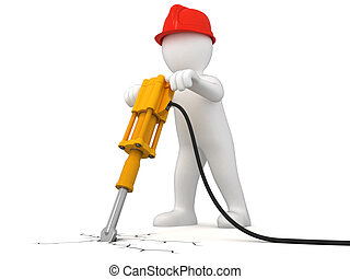 Worker with jackhammer Image with clipping path