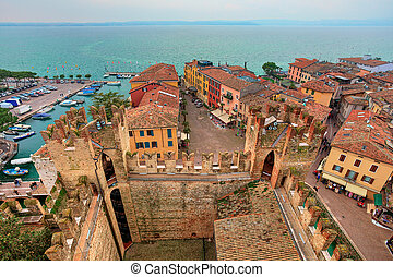 View on Sirmione and Lake Garda from castle. - View from...