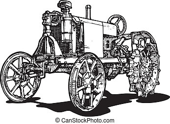 tractor - Vector drawing of tractor stylized as engraving