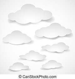 Paper clouds. - Set of cut paper clouds of different size.