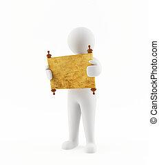 3D man reading an ancient scroll - 3D render of a man...