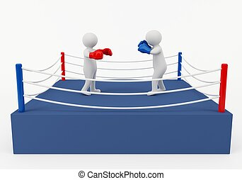 Boxing match - 3D rendering of a boxing match