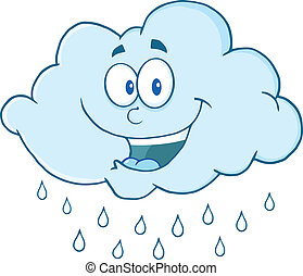 Happy Cloud Raining Cartoon Mascot Character