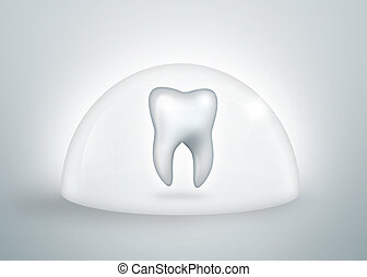 teeth protection concept - tooth under a bell jar isolated...