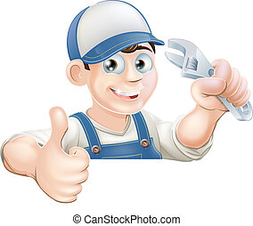 Wrench man over banner thumbs up - A plumber or mechanic...