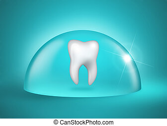 total dental protection - molar tooth under a bell jar on...
