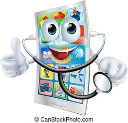 Cell phone man holding a stethoscope - A happy cartoon cell...