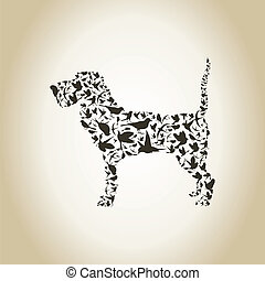 Dog a bird - Dog made of birds A vector illustration
