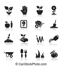 Garden an icon - Set of icons a garden. A vector...