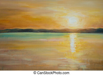 Lake - Nature background with sunset over lake.Picture...