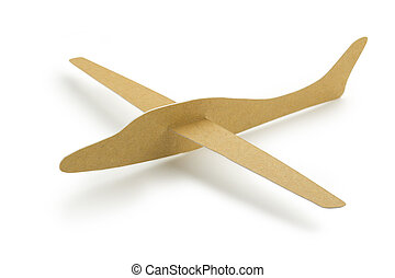paper aeroplane - brown paper aeroplane isolated on white...
