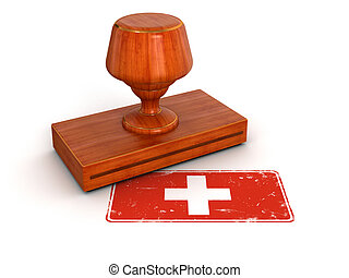 Rubber Stamp Swiss flag - Rubber Stamp Swiss flag. Image...