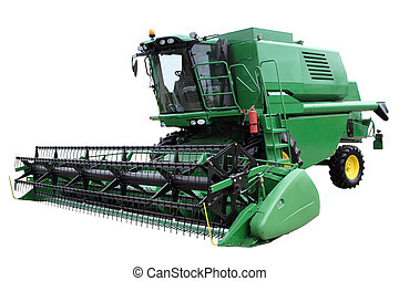 Green modern combine isolated on a white background
