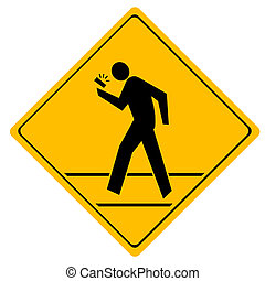 Road sign crosswalk People crossing the road talking on the...