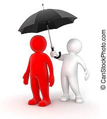 Two businessmen under one umbrella - Two businessmen under...