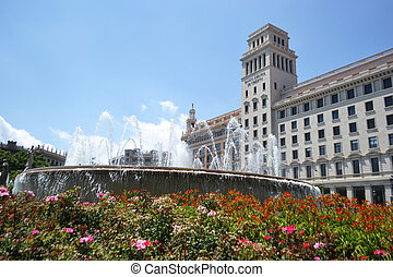 Plaza Catalunia in Barcelona, Spain