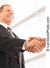 Sealing a deal. Close-up of low angle view of business men...