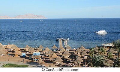 The motor yacht near beach at the luxury hotel, Sharm el...