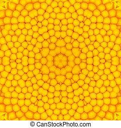 amarela, Concêntrico, flor, centro, Mandala,...