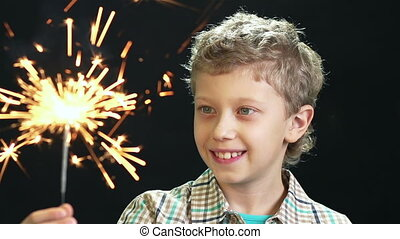 Excited With Sparkles - Preteen boy being excited with a...