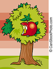 nibbled apple on tree cartoon illustration - Cartoon...