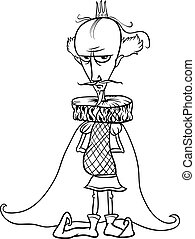 king cartoon for coloring book - Black and White Cartoon...