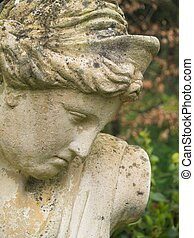 Classical Female Garden Statue - Moss & Lichen Covered...