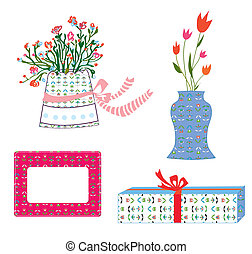 Presents boxes and flowers holidays set