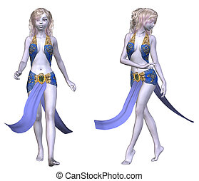 Girl in fantasy outfit - Digitally rendered illustration of...