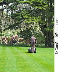 Man Mowing The Lawn - Male Gardener Mowing The Lawn