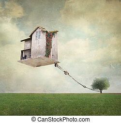 Surreal house - Artistic image representing an house...