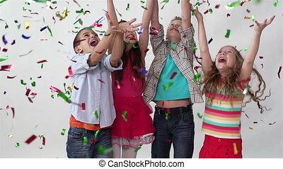 Ecstatic Friends - Studio slow-motion of children jumping...