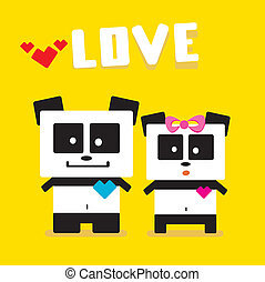 Vector cartoon Panda couple in love - Panda bear couple...