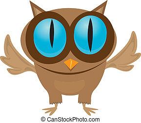 vector cartoon little owl bird isolated on white