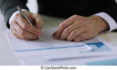 man filling a form - business, tax, office, school and...