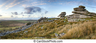 Dusk at Stowes Hill - Granite slabs making up a tor at...