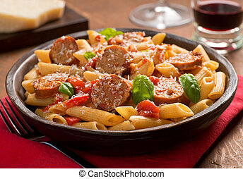 Pasta with Sausage - Cajun style pasta with penne, spicy...