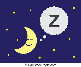 Moon Sleeping - Moon cartoon with sleeping thought bubble
