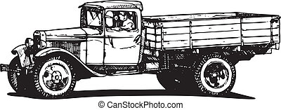 vintage truck - Vector drawing of vintage truck stylized as...