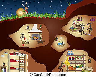 ants - funny illustration of ants house