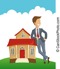 Owner and his house - Vector illustration of man holding the...