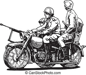 Military motorcycles - Vector drawing of motorcycles...