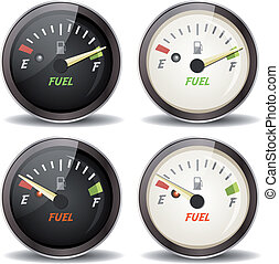 Fuel Gauge Icons Set - Illustration of a set of cartoon fuel...