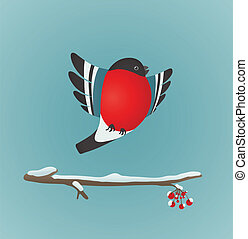 Bullfinch Flying and Ashberry Twig - Bird illustration with...