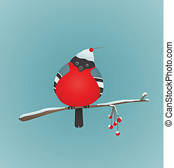 Bullfinch Sitting on Ashberry Twig - Bird illustration with...