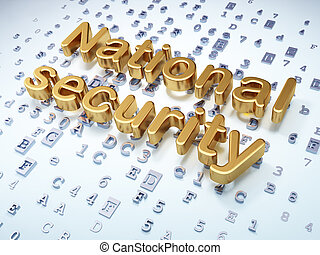 Privacy concept: Golden National Security on digital background