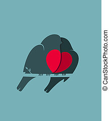 Bullfinch Birds Heart Love Couple Sitting on Twig - Birds...