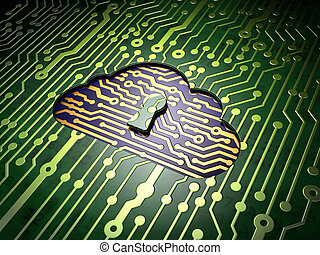 Cloud technology concept: Cloud With Keyhole on circuit board background